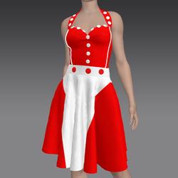 Elegant Red and White Dress