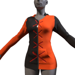 Black-Orange-Red X Hoodie - Female