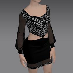 Black Flirty Dress with Dots