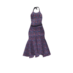 NEW for FALL - HALTER NECK  LONG DRESS WITH RIBBON BELT