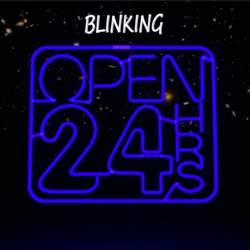 24 Hours Neon Sign Blue