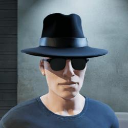 Secret Agent MIB Spy Black Hat (Male)