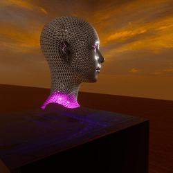 A Portrait Bust with attached lighting