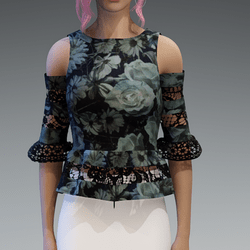 Elegant Top with Lace in Black V3 with Roses4 Pattern