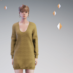 Quilted Sweater Dress Tan - HELLEN