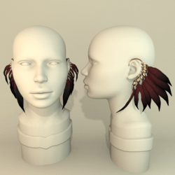 Feather earrings - BLACK/RED