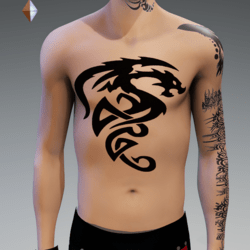DRAGON 2 TATTOO CHEST MALE