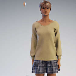 Sweater and Gathred Mini - Tan with Blue
