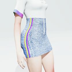 High Waisted Denim Skirt with a Rainbow Design