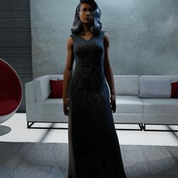 Long Black Dress with gray pattern