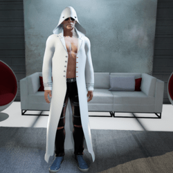 Male Long White Trench Coat with Hoddie