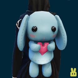 Plush bunny - hand - blue