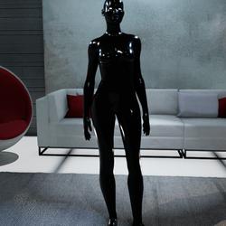 Female Black Avatar White Glowing Eyes