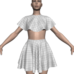 Poncho Caped Top & Skirt Set - Checkered
