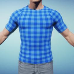 Blue Check Men's T-Shirt