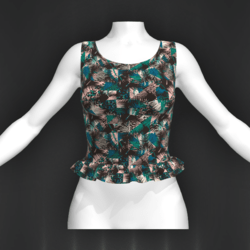 Laura top frill palmier turquoise