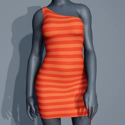 One Shoulder Striped Dress - Orange