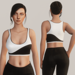 Wavy Half Tank Top - Black and White