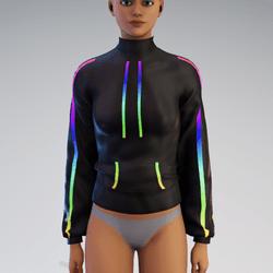 Rainbow Turtleneck Jacket for Female (Animated)