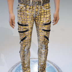 Punk Rock Chaos Yellow Plaid Dirt-Bleached Jeans - Male