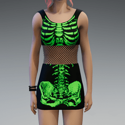 Skeleton Minidress Black and Green