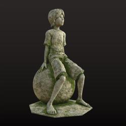 Little Thinker Statue - Moss