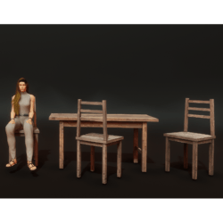 Rustic Table and Chairs Set with Sit