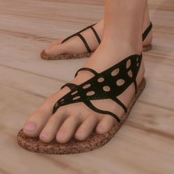 Sandals - Flip-flops with dark Green  Leaf