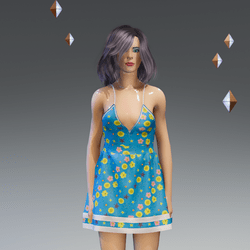 Female - Spring-Summer Blue Floral Dress