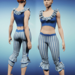 Ruffled Capris Set - Blue Outfit