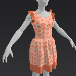 Ruffle Dress - Orange Life