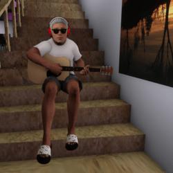 Male Guitar Sitting
