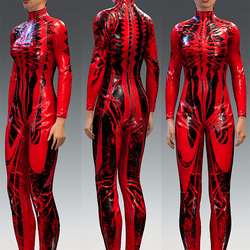 Bodysuit Rubber Catsuit Latex Red and Black