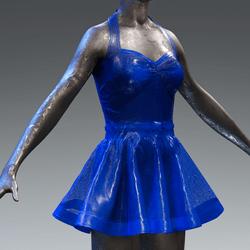 Latex Rubber Dress Short Blue translucent