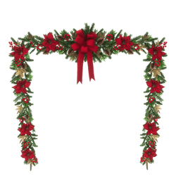 Christmas garland with red bow