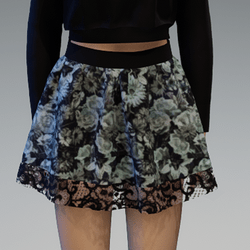 """Mini """"Flutter"""" Skirt with Lace Application and Roses4 Pattern"""