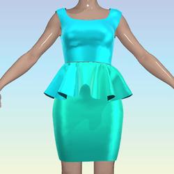 Blue Green Ombre Shiny Dress