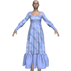 Long Ruffle Gown - Blue Flowers-n-Terri