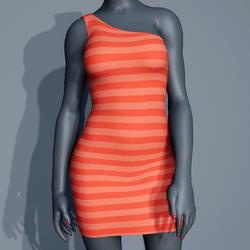 One Shoulder Striped Dress - Coral