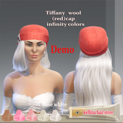 tiffany -wool cap (red)-base white -infinity colors-Demo