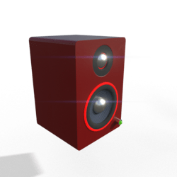 Small Desktop Speakers w/ Glow Ring (Red)