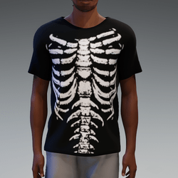 Black and White Skeleton T-Shirt for Men
