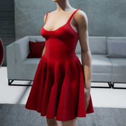 Suit. Body skirt red
