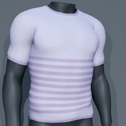 Men - Stripes Tee-Shirt - Purple Lilac