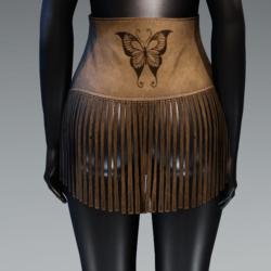 High Waist Fringe Suede Skirt - Butterfly