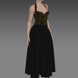 Elegant Gold and Black Long Dress