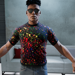 Stylish super masculine shirt with ink stains and black background