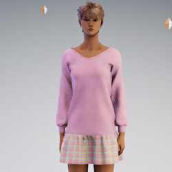 Sweater and Gathred Mini - Pink with Pink