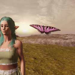 Animated Butterfly pet light pink [Glasses slot]