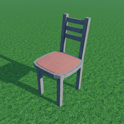 Wood Cushioned Chair Red